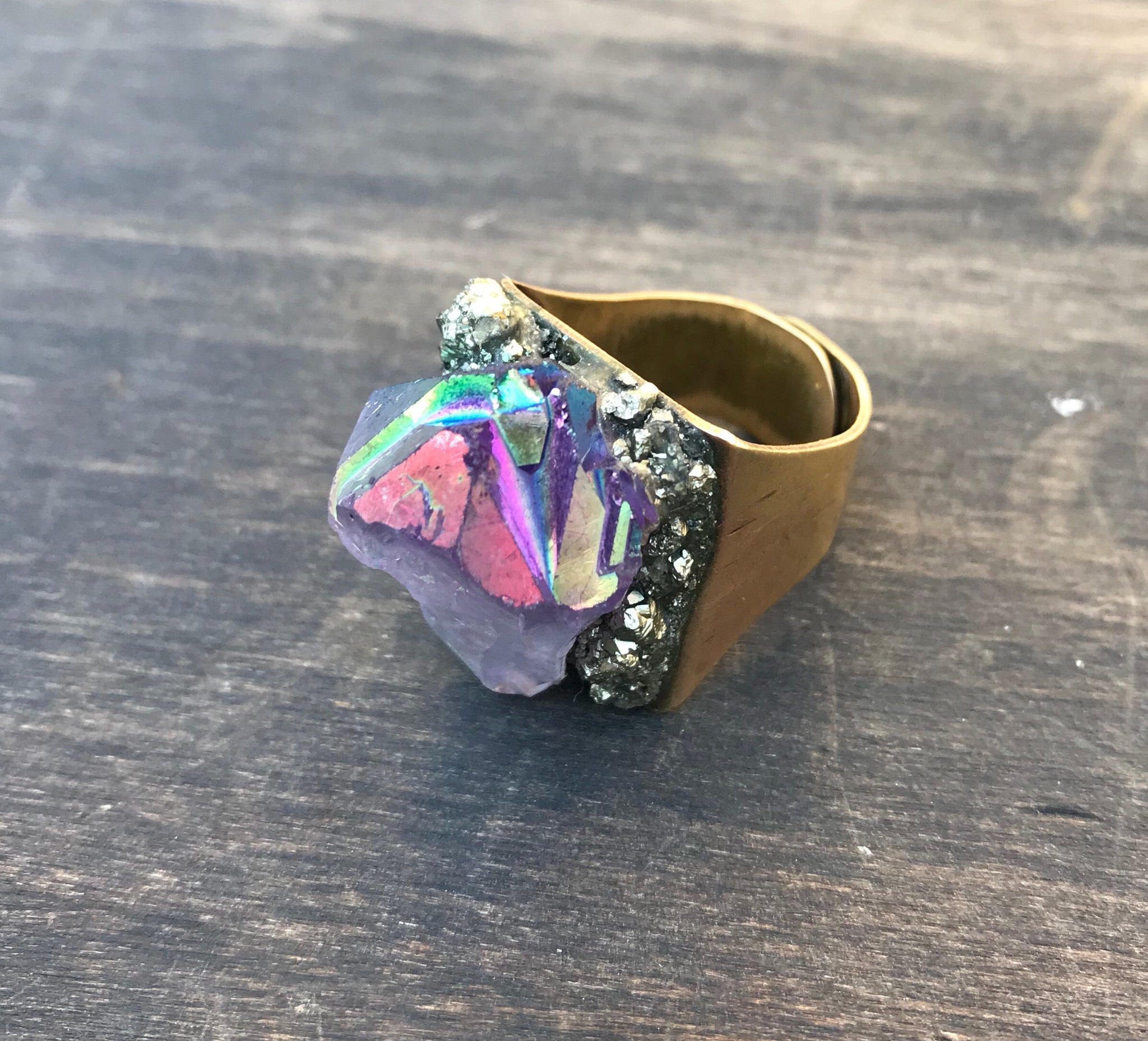 Angel Aura Amethyst & Pyrite Ring