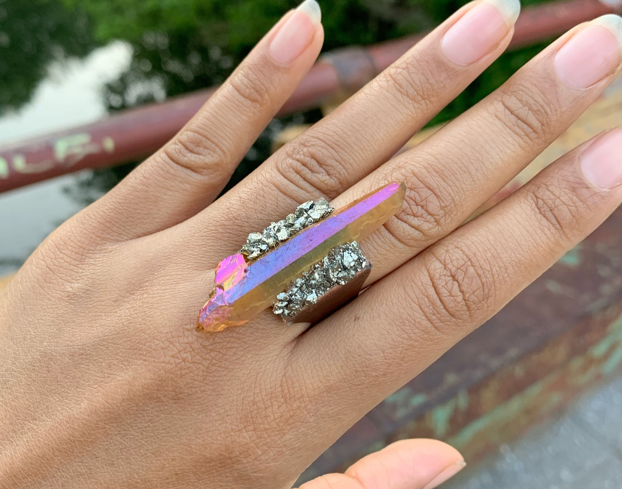 Sunset Aura Quartz Point & Pyrite Ring