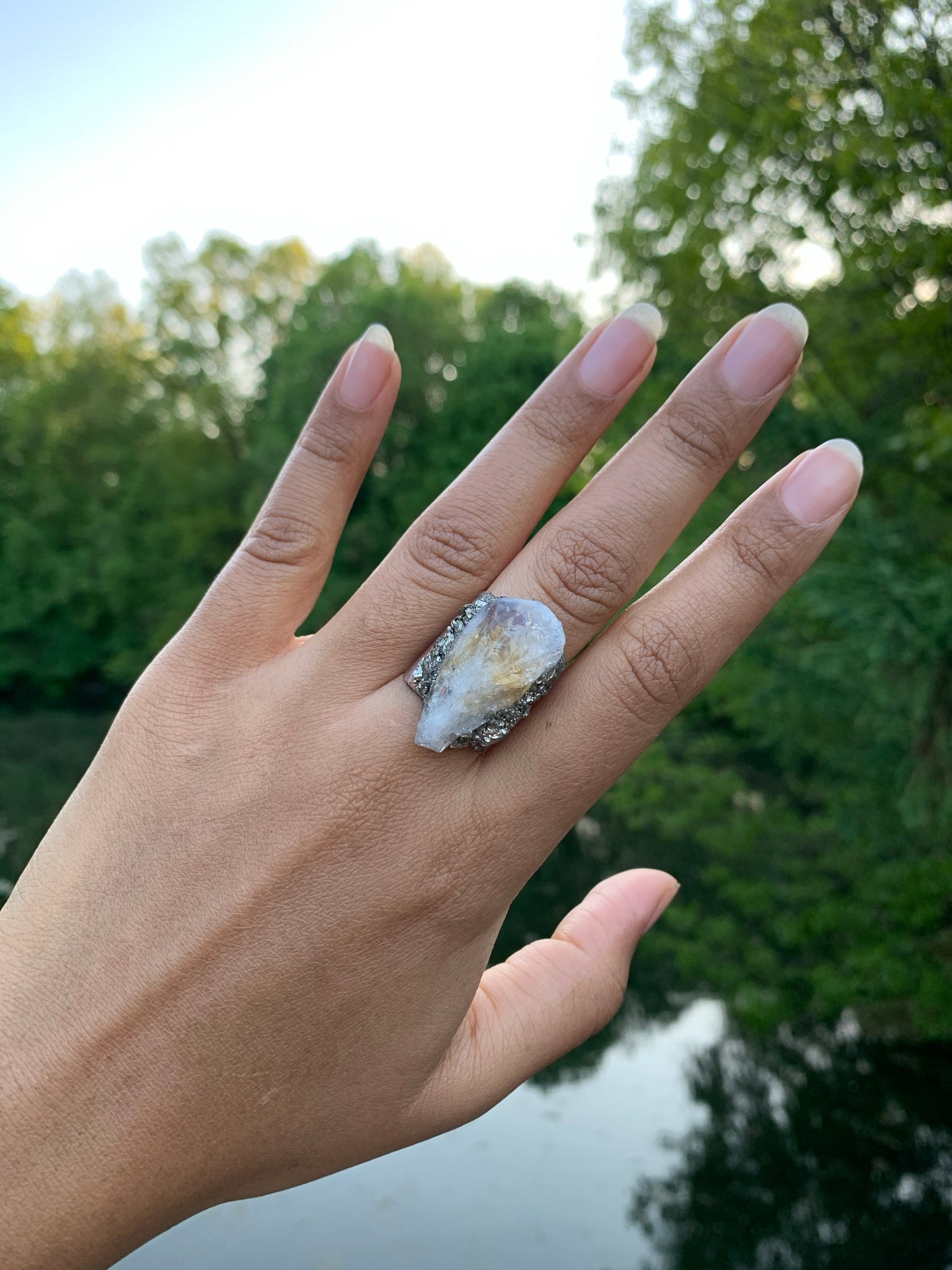 Citrine & Pyrite Ring