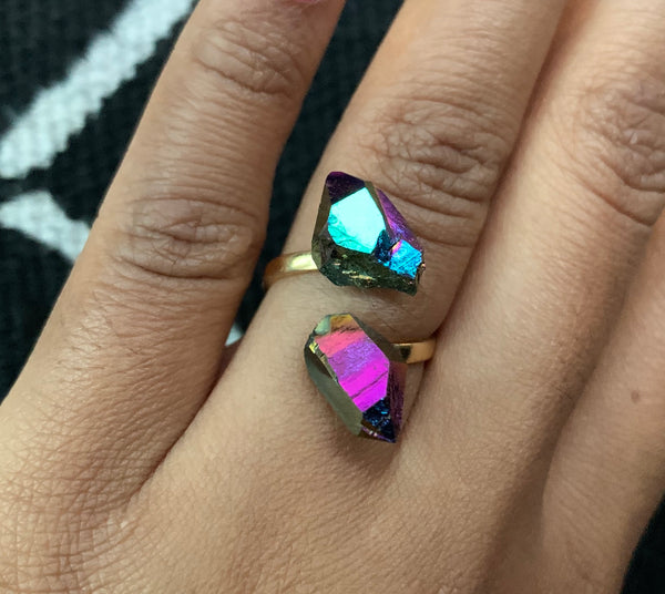 Rainbow Aura Quartz & Gold-Plated Brass Ring