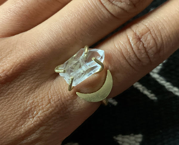 Crystal Crescent Ring: Quartz