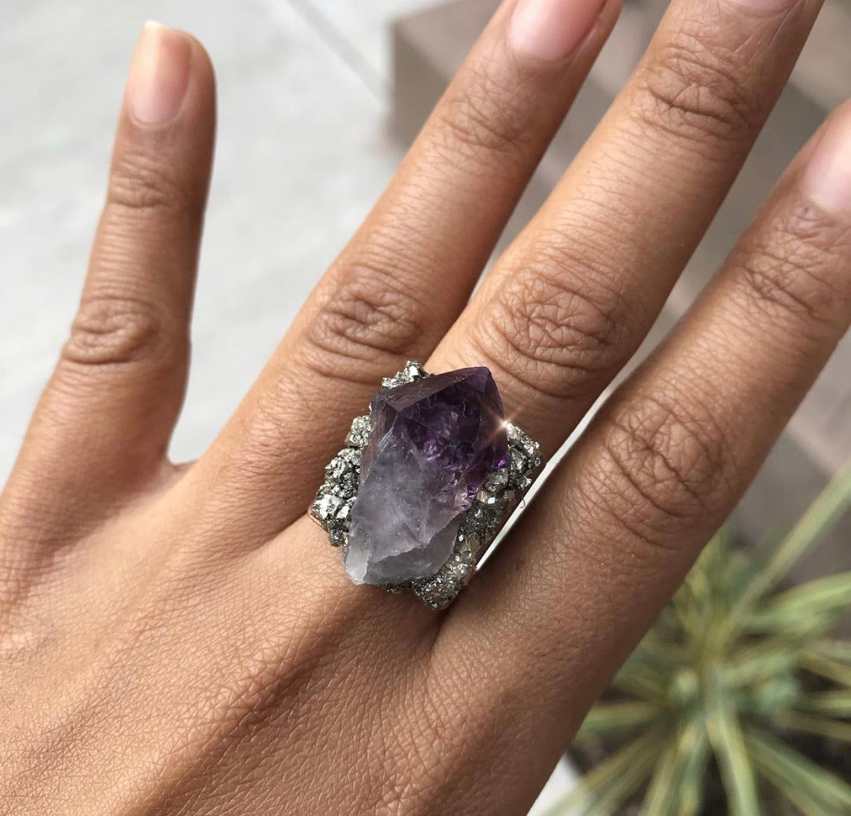 Amethyst & Pyrite Ring