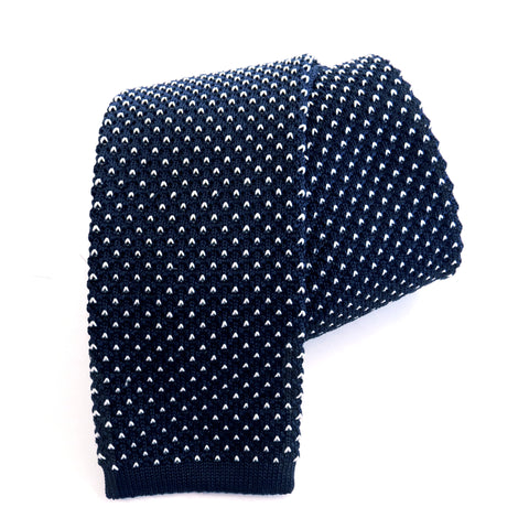 Knitted Tie - Navy & White