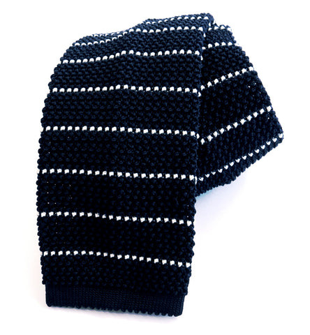 Knitted Tie - Navy & White Stripe