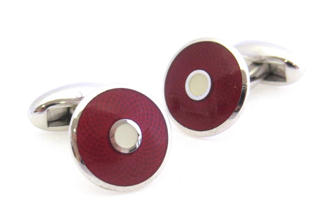 Red Guilloche Cufflinks