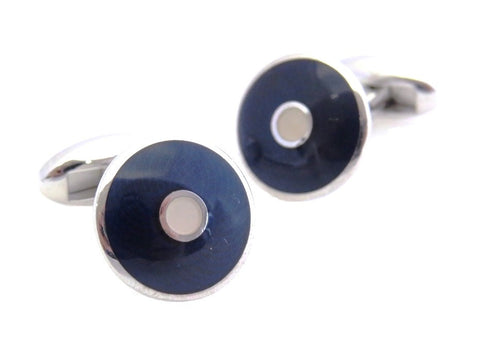 Navy Guilloche Cufflinks