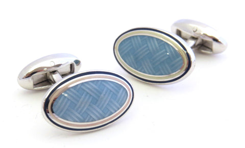 Light Blue Weave Cufflinks