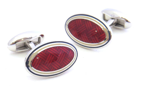 Red Weave Cufflinks