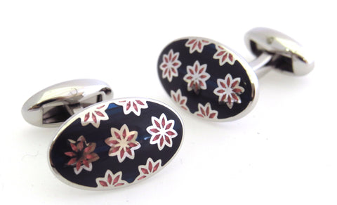 Navy & Pink Flower Cufflinks