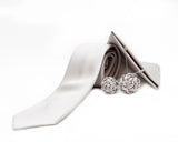 Silk Rose Lapel Pin in Silver (Large)