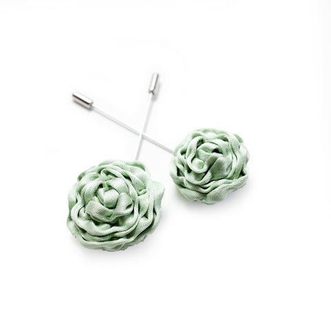 Silk Rose Lapel Pin in Mint (Large)