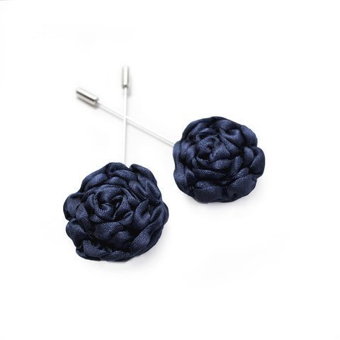 Silk Rose Lapel Pin in Navy (Large)