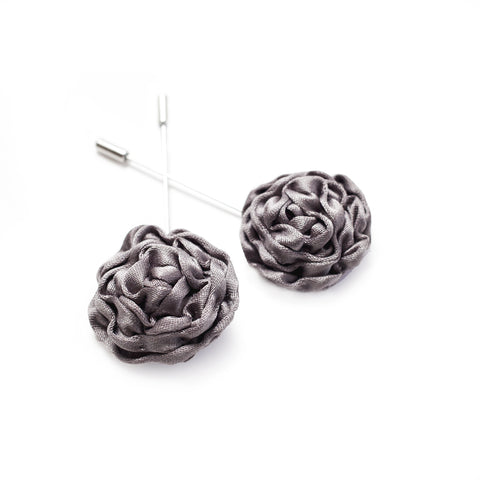 Silk Rose Lapel Pin in Slate Grey (Large)