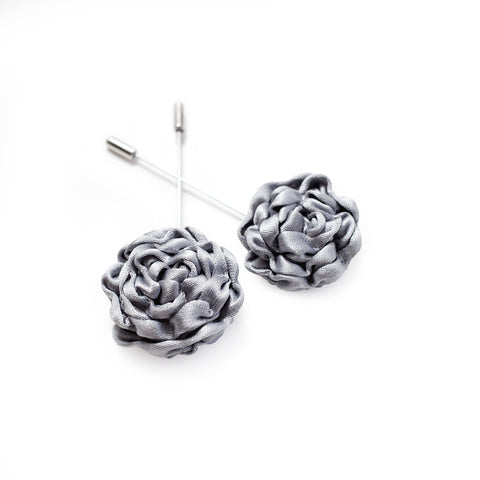 Silk Rose Lapel Pin in Dove Grey (Large)