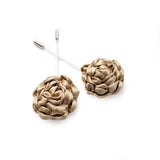 Silk Rose Lapel Pin in Champagne Gold (Large)