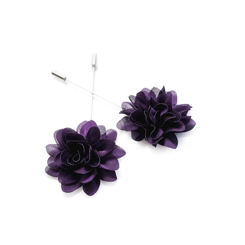 Flower Lapel Pin - Dark Plum
