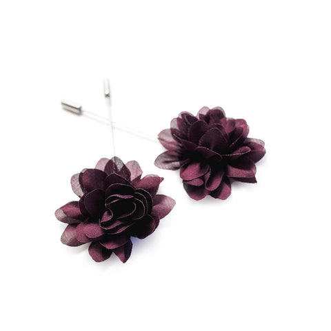 Flower Lapel Pin - Burgundy