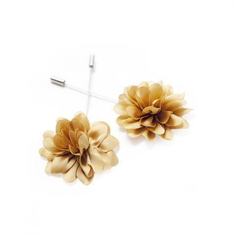Flower Lapel Pin - Golden Beige