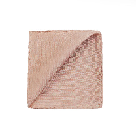 Textured Herringbone Silk Pocket Square in Nude Pink