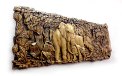Elephants in Jungle Wood Carving 2