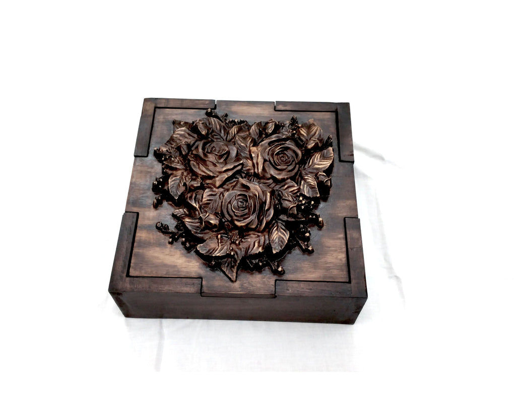 Corporate Gift Jwelery,Choclate Flower Box Wood Carved