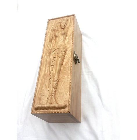 Corporate Gift Lady Wine Box Wooden Carved