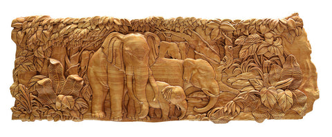 Elephants in Jungle Wood Carving