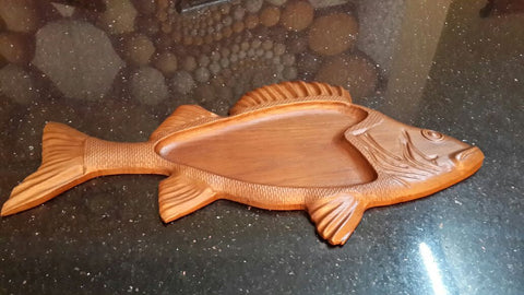 Corporate Gift Fish Serving Tray Wood Carved