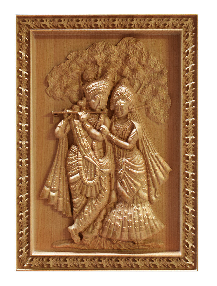 Radha Krishna 12x09 Unique Wood Carving