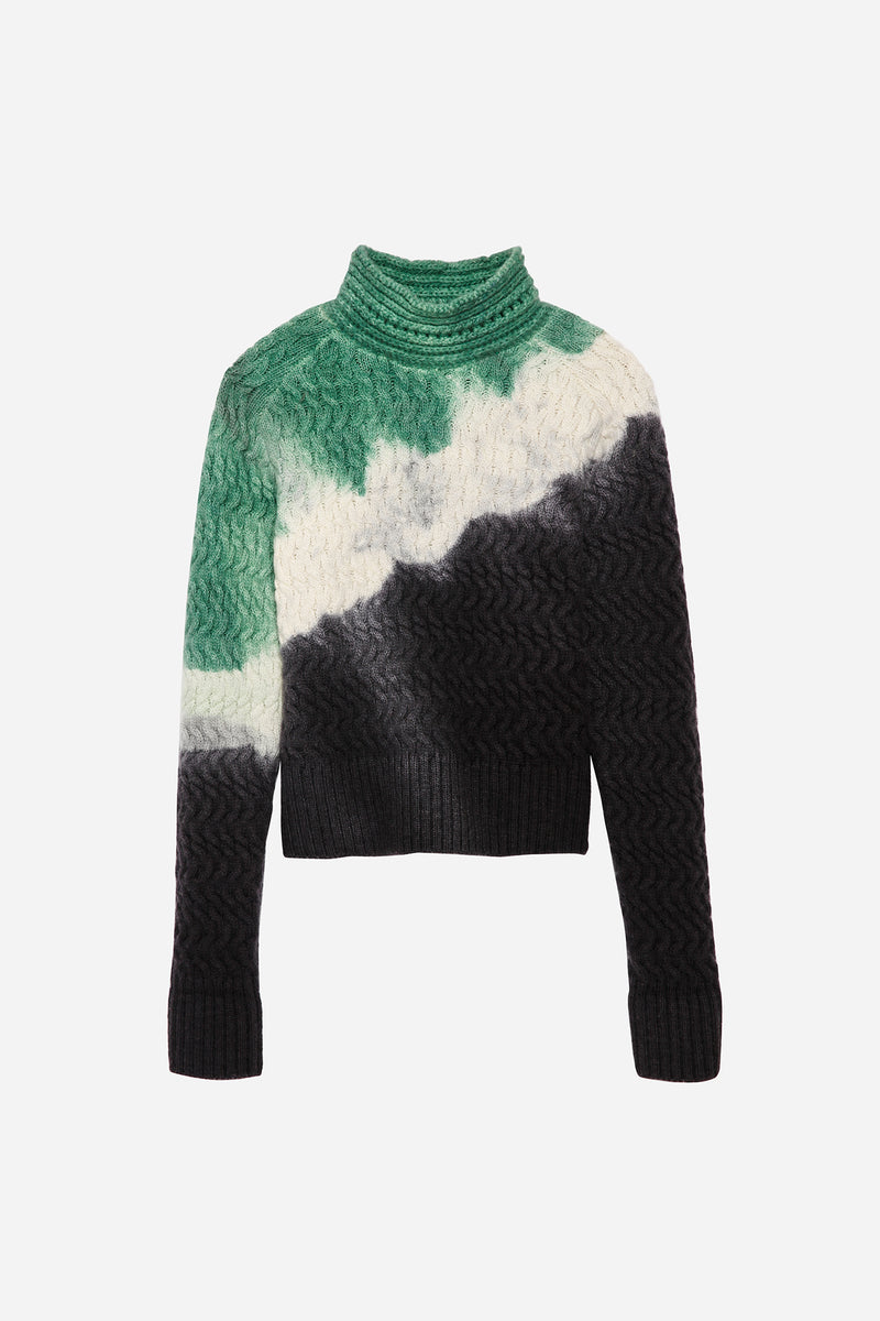 FAULKNER PAINT SWEATER IN RORSCHACH-GREEN