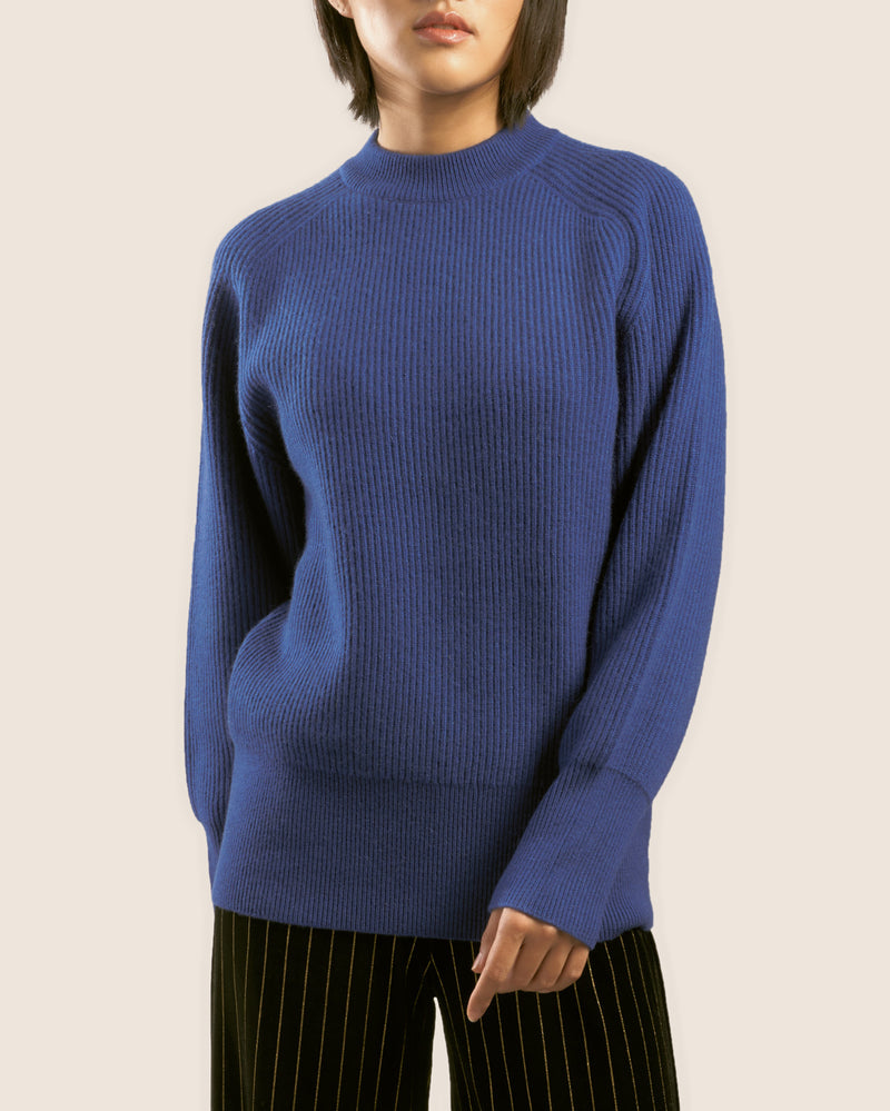 The 'Delft' Mockneck in Cobalt Blue