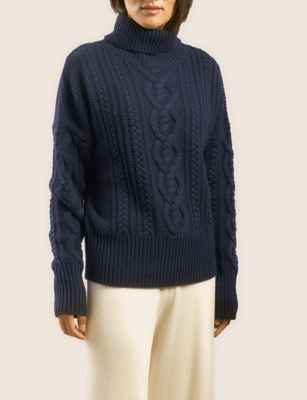 "The ""DEGAS"" CASHMERE ARAN ROLLNECK in Marine Blue"