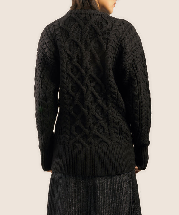 "The ""Dix"" Aran Crewneck in Black"