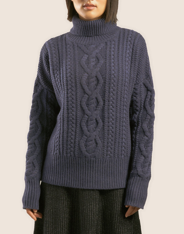 "The ""DEGAS"" WOOL ARAN ROLLNECK in Denim Blue"