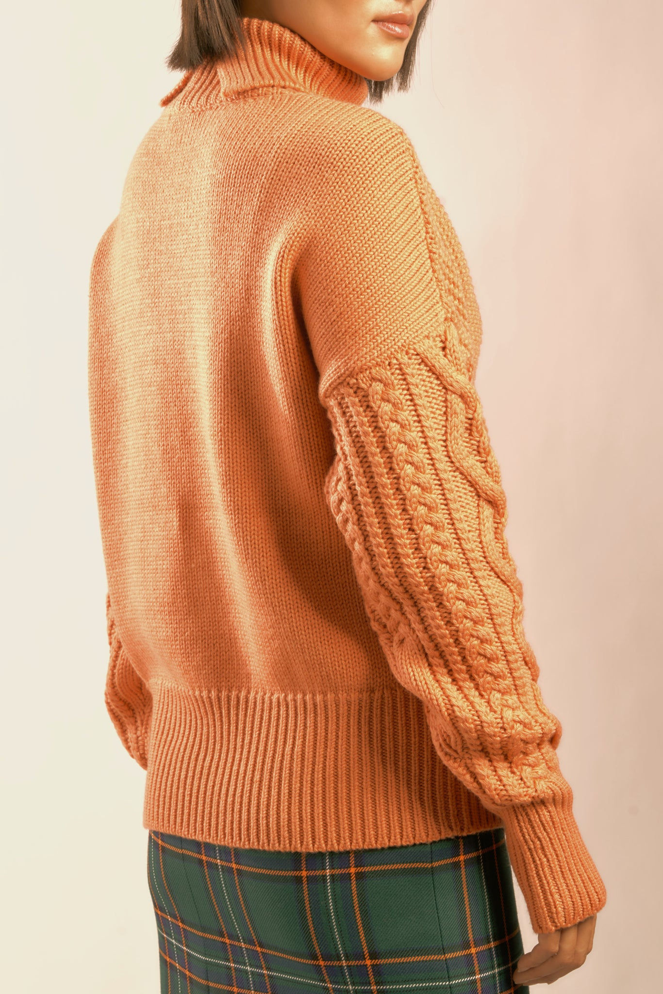 "The ""DEGAS"" WOOL ARAN ROLLNECK in Peach"