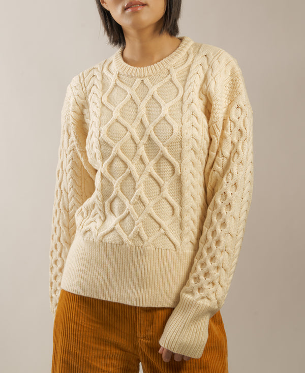 "The ""Dix"" Aran Crewneck in Parchemin"