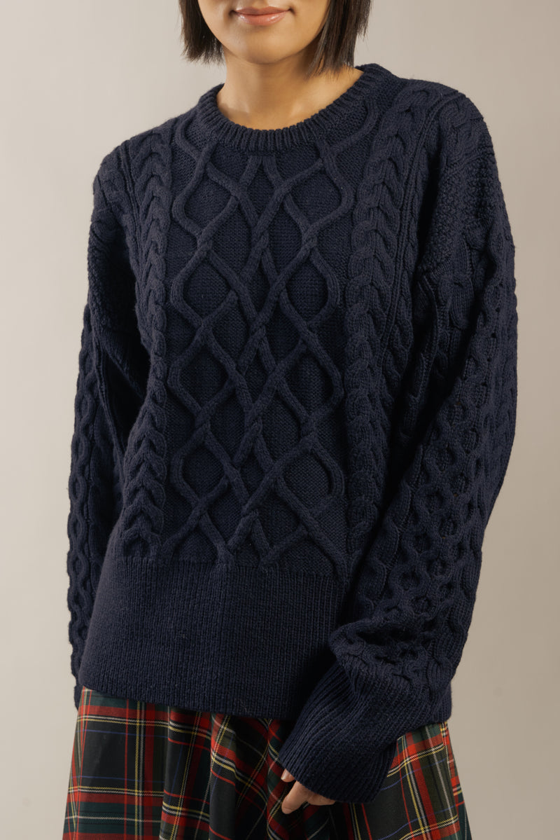 "The ""Dix"" Aran Crewneck in Navy Blue"