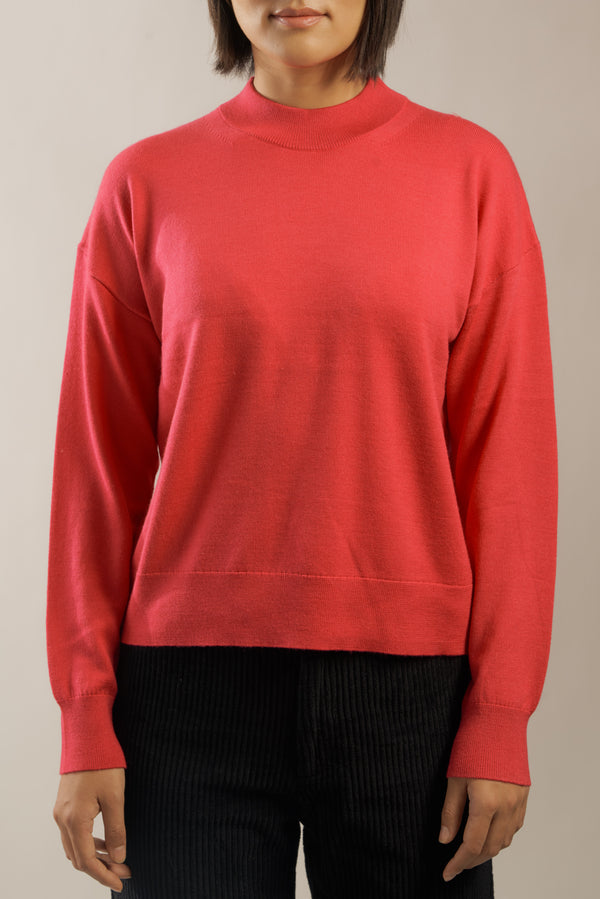 The 'Daumier' Mockneck in Barbie Pink