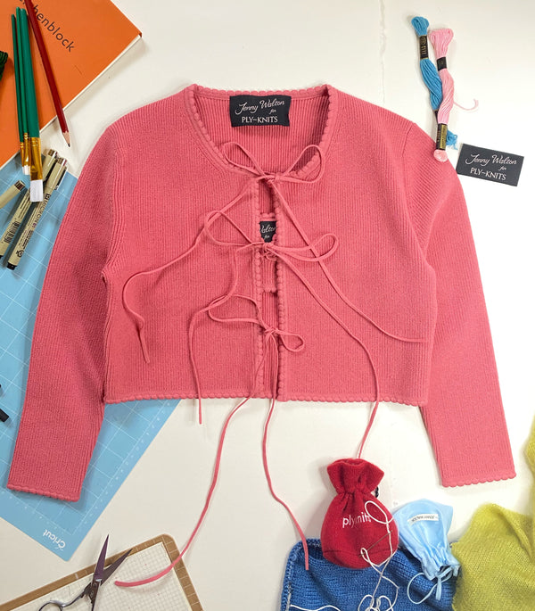 Jenny Scalloped Cardigan in Watermelon-Sugar-N'-Spice