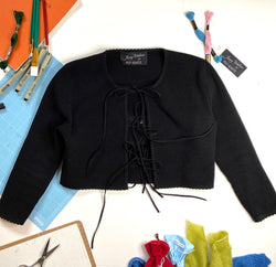 Jenny Scalloped Cardigan in Super-Black