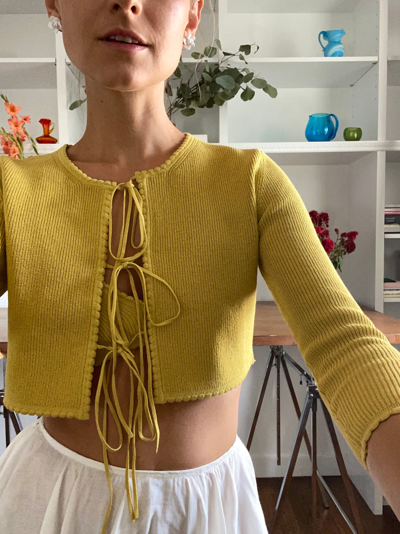 Jenny Scalloped Cardigan in Hot-Honey