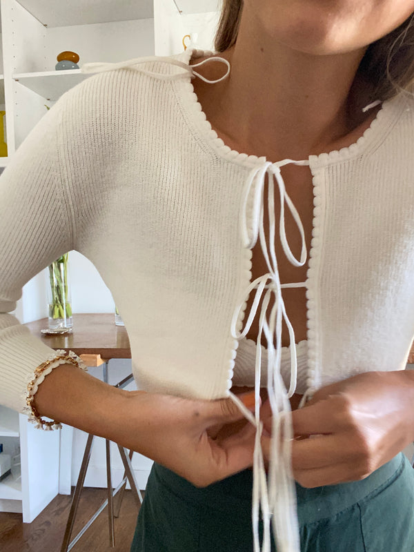 Jenny Scalloped Cardigan in Oat-Or-Almond-Milk-Please