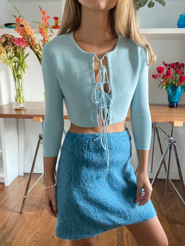Jenny Scalloped Cardigan in Forget-Me-Not-Blues