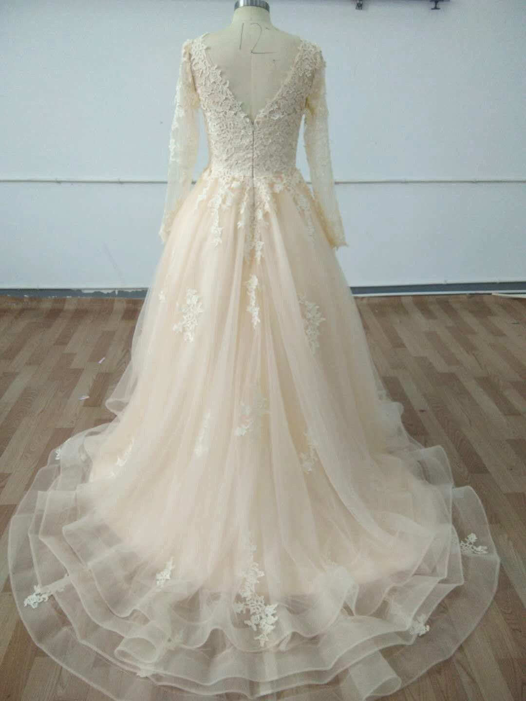 Custom Made V Neck Long Sleeves Champagne Wedding Dresses, Champagne Wedding Gowns, Long Sleeves High Low Prom Dresses