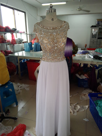 A Line Round Neck Cap Sleeves Floor Length Ivory Prom Dress, Cap Sleeves Formal Dresses