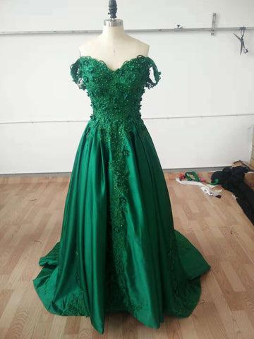 Dark Green Off Shoulder Lace Prom Gown, Off Shoulder Lace Formal Dresses, Green Evening Dresses