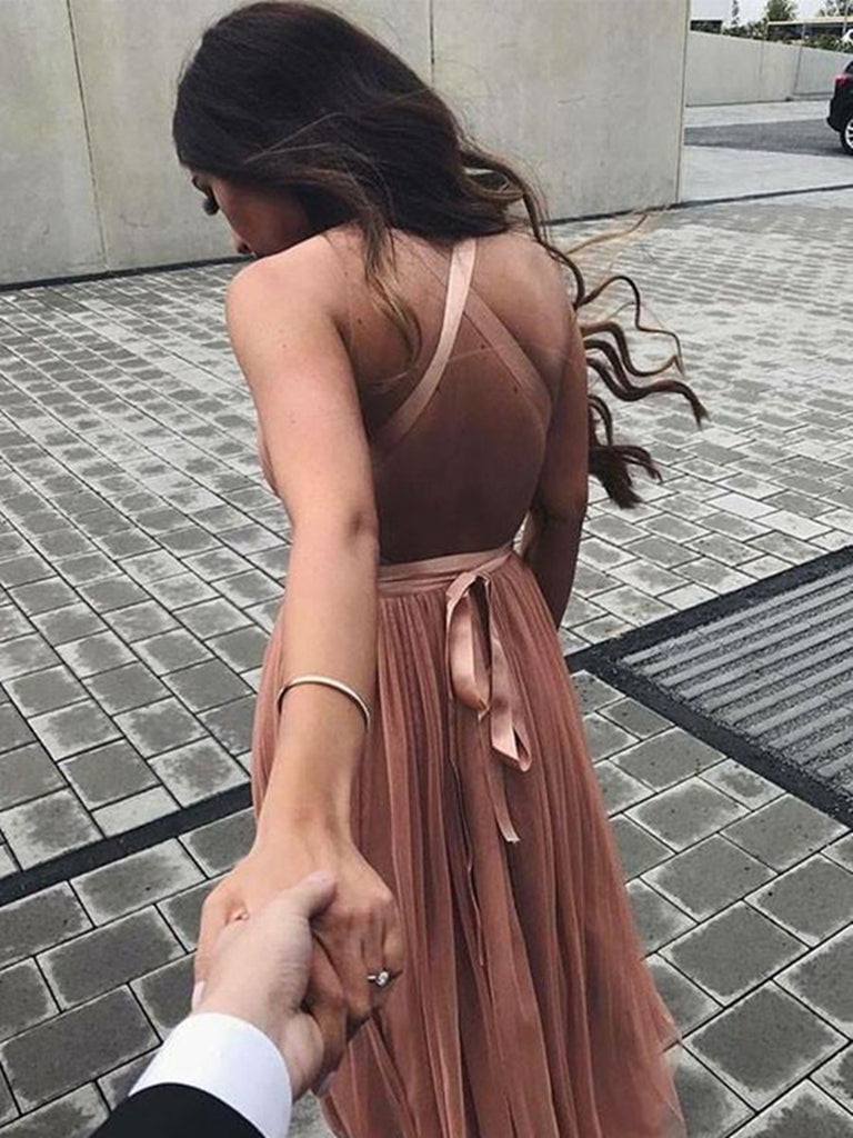 A Line V Neck Backless Prom Dresses, V Neck Backless Formal Dress, Graduation/Homecoming Dresses