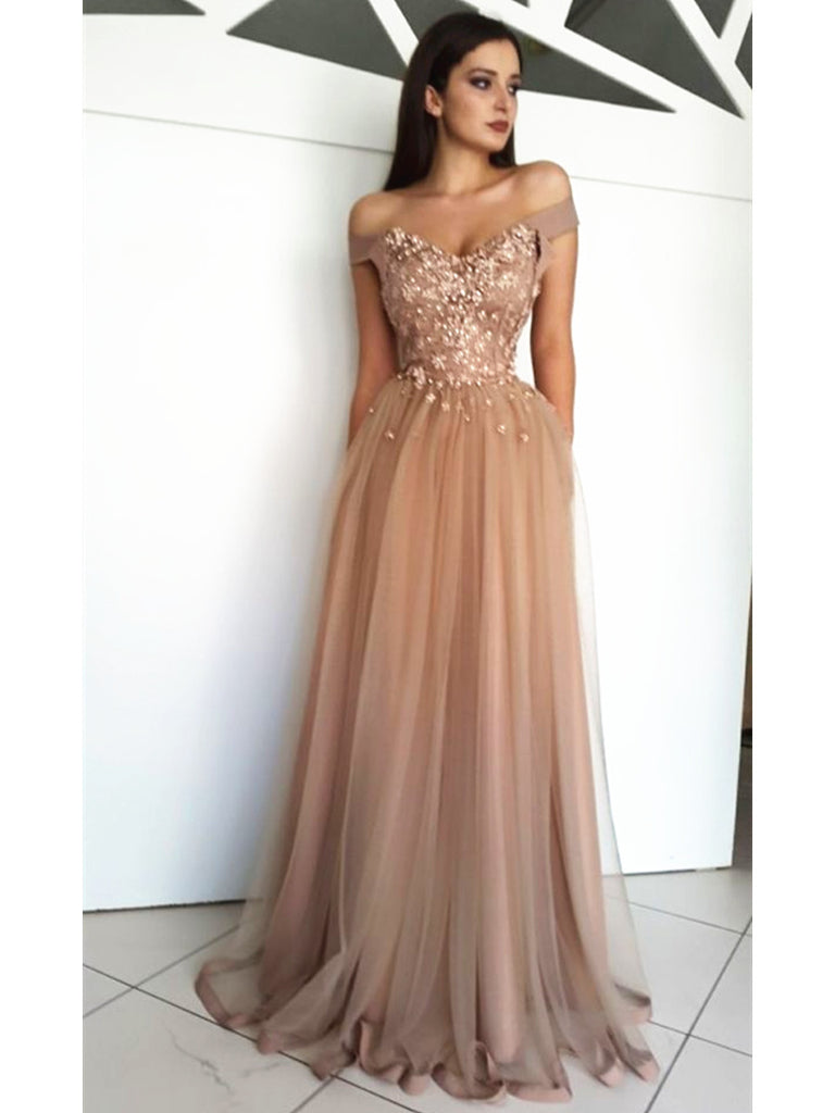 8e21da710d6 Custom Made A Line Off Shoulder Tulle Lace Prom Dresses