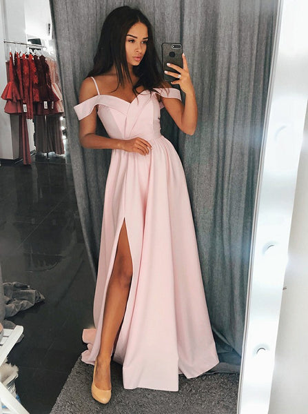 Custom Made Off Shoulder Red/Blue/Pink Prom Dresses with Slit, Off Shoulder Red/Blue/Pink Graduation Dress, Formal Dresses