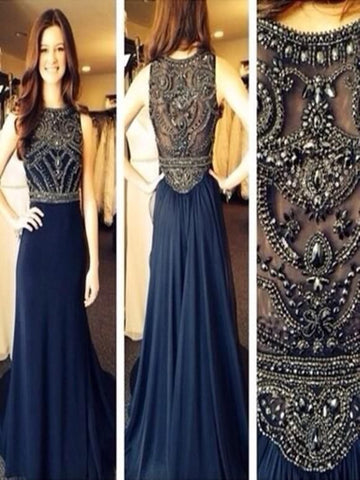Dark Blue Chiffon A-line Beaded Long Prom Dresses, Evening Dresses, Formal Dresses